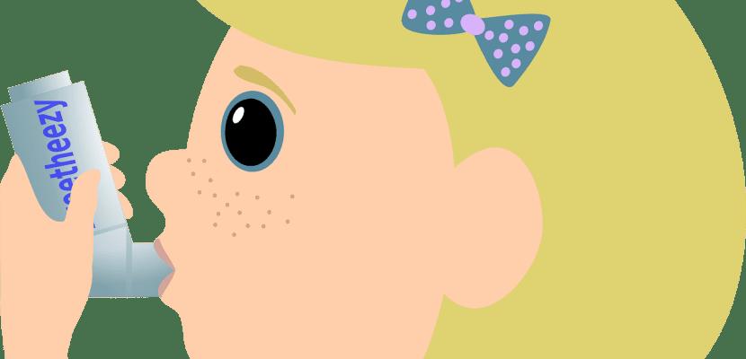 dibujo niña con ventolín