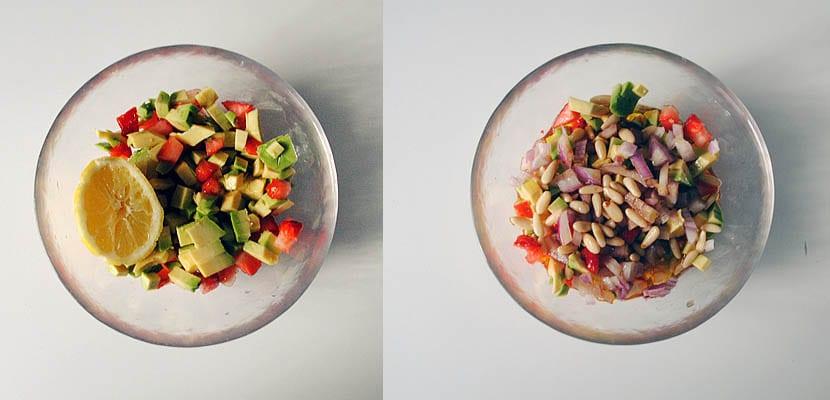 Espárragos con vinagreta de aguacate y fresas