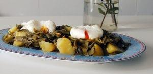 Judias verdes con patatas y huevo poche