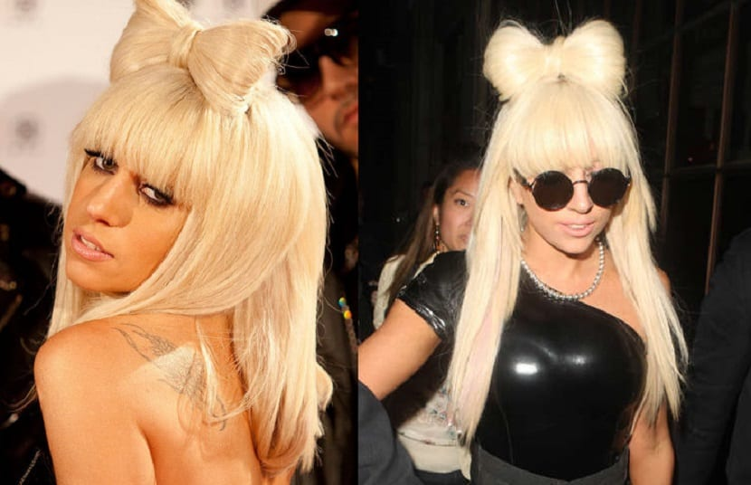 Peinado Lady Gaga moño con lazo