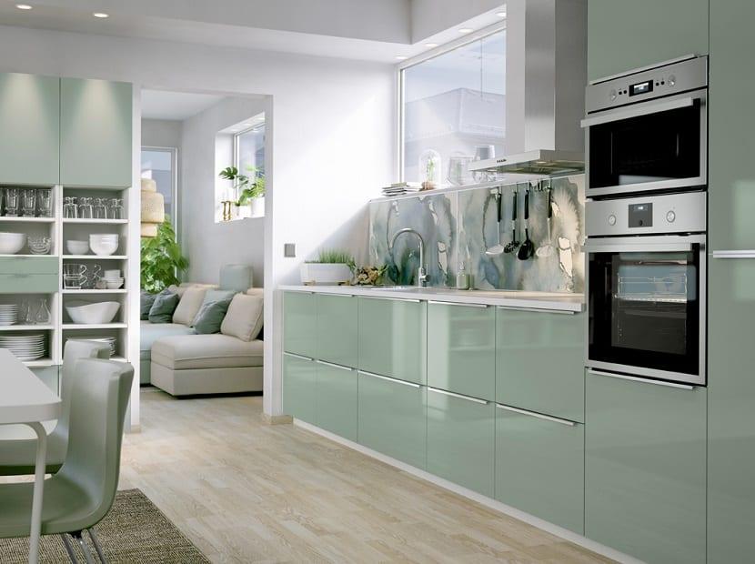 Cocinas lacadas en color verde