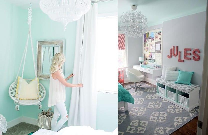 Color mint en dormitorios