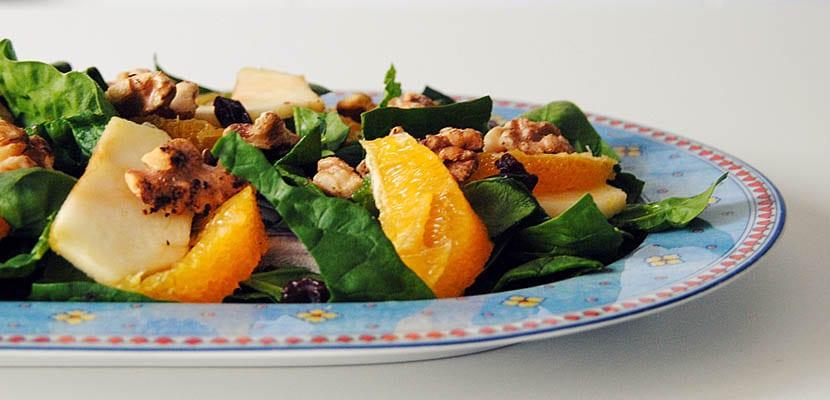 Ensalada de espinacas y naranja