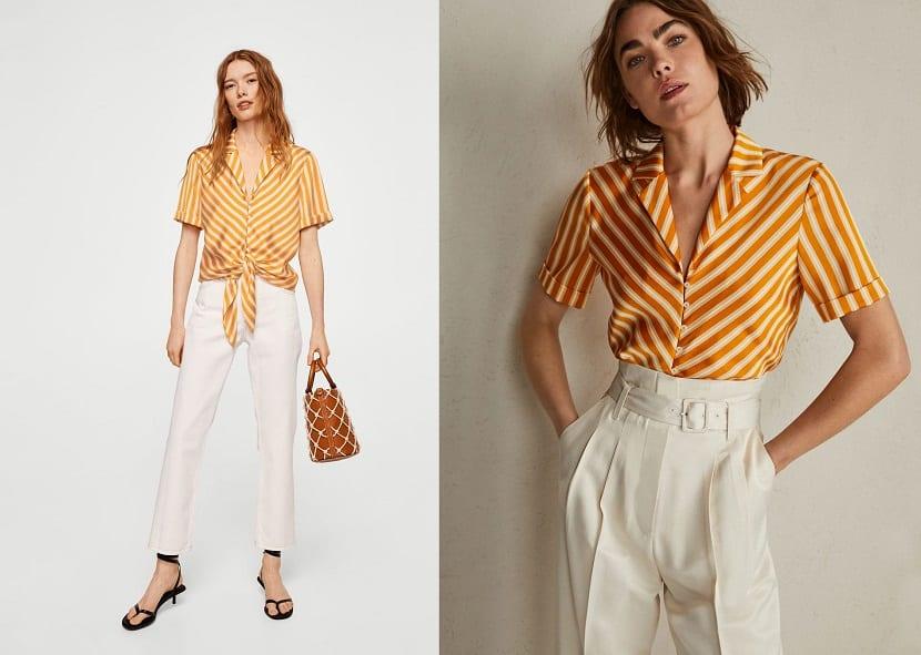 Pantalones blancos con blusas amarillas