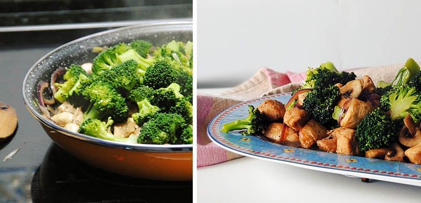 Pollo con brócoli y champiñones