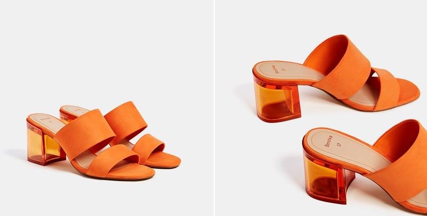 sandalias en color naranja