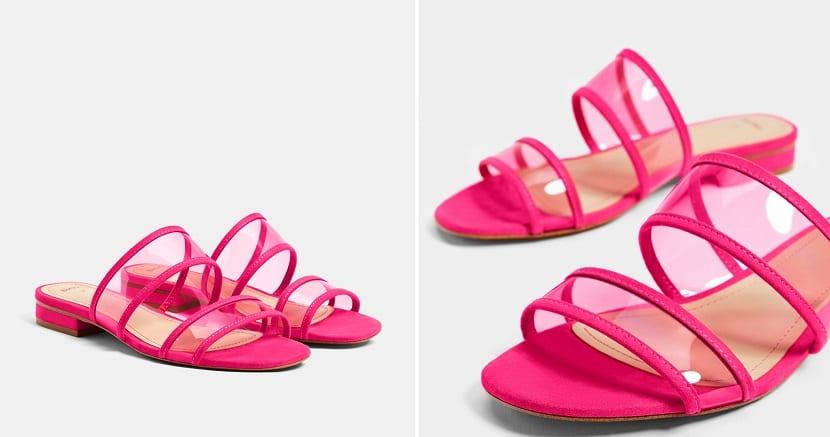 Sandalias planas en rosa
