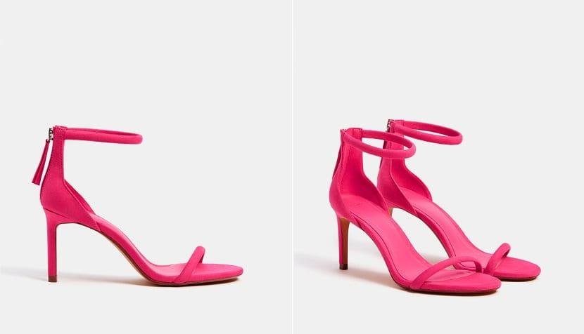 Sandalias de tacón fino en rosa