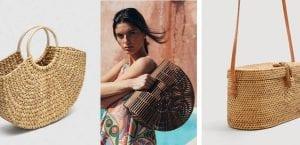 Bolsos de paja, rafia y bambú