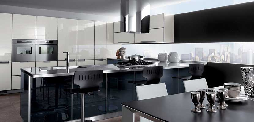 Cocina moderna en negro