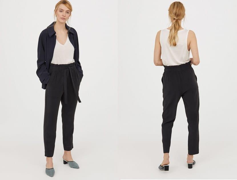 Pantalones tobillero con lazo