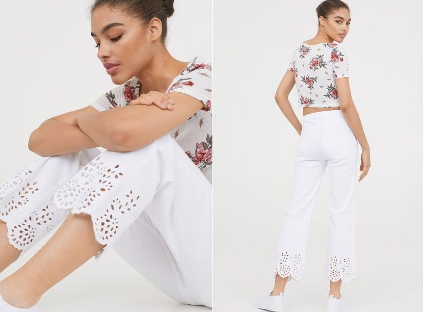 Pantalones tobilleros en blanco