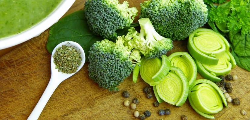 puerro y brócoli