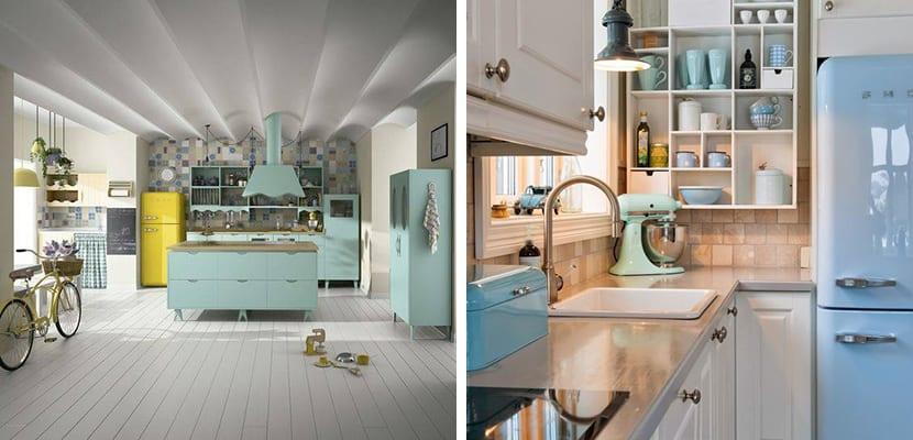 Cocinas en colores pastel