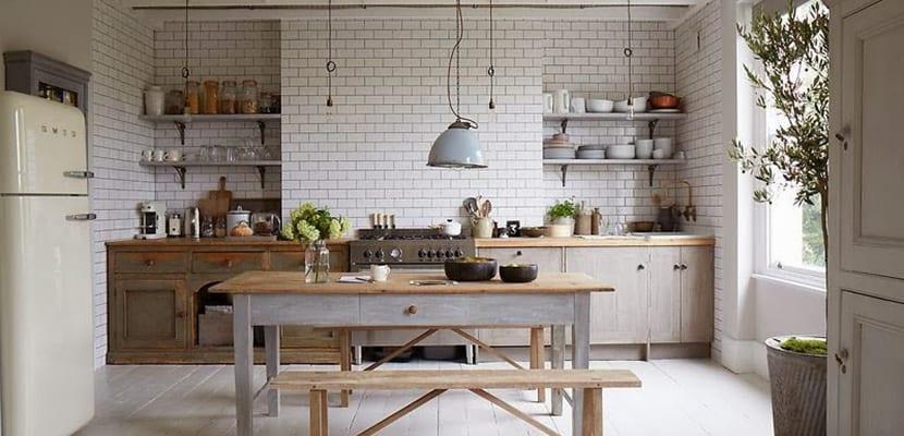 cocina amplia vintage