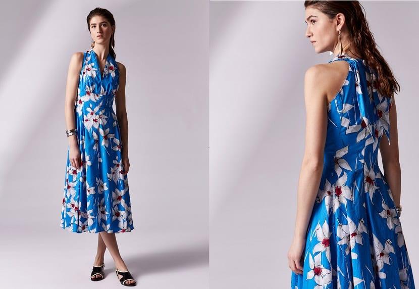 Vestido azul estampado Adolfo Domínguez