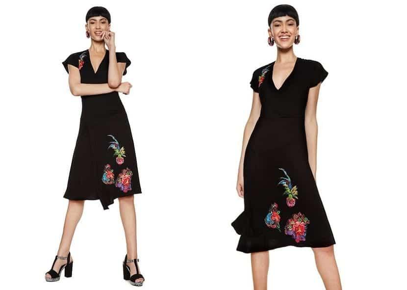 Vestido negro bordados Desigual