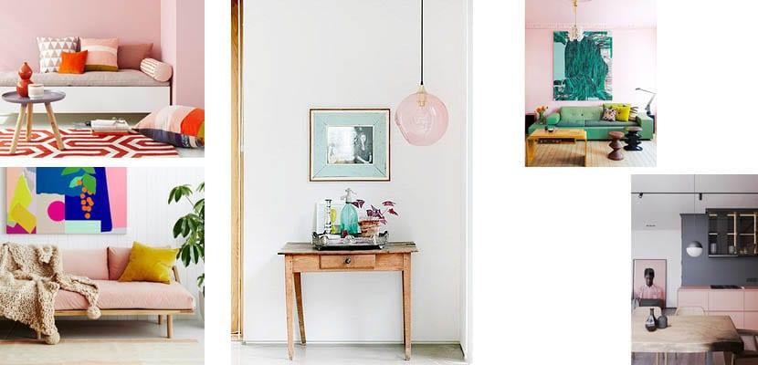 Decoración en color rosa palo