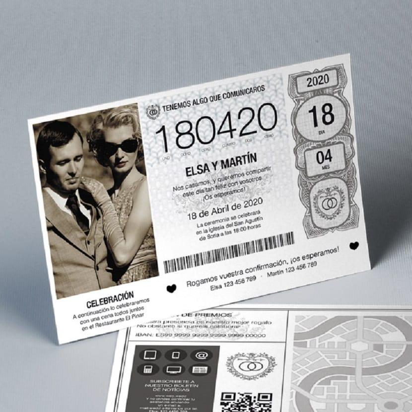 Invitación de boda original billete de lotería