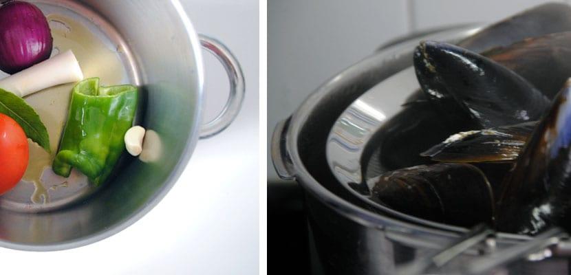 Sopa de arroz y merluza