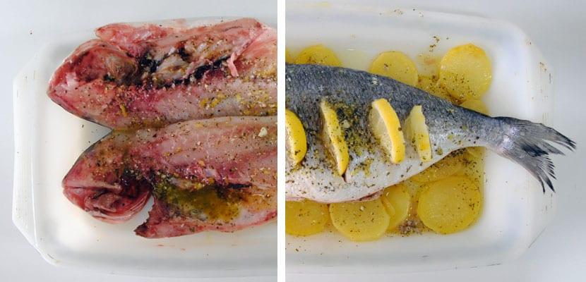 Dorada al horno con mjo de perejil y limón