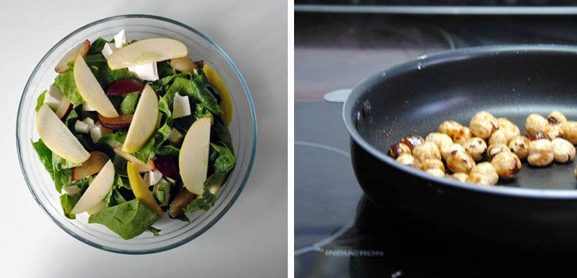 Ensalada de espinacas y manzana con avellanas caramelizadas