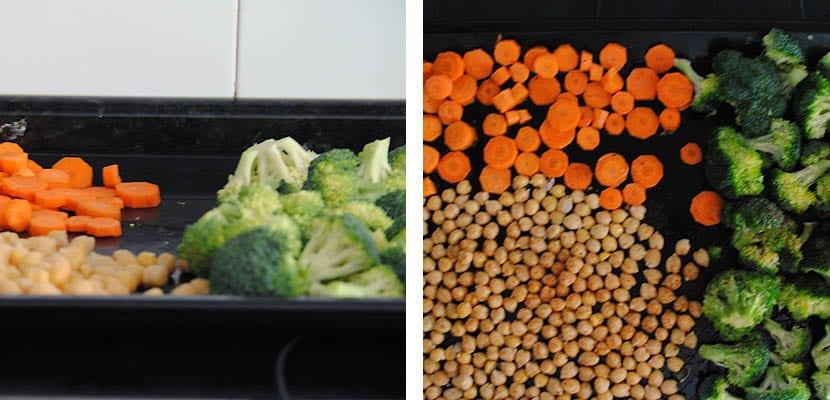 Ensalada templada de garbanzos, brócoli y zanahoria