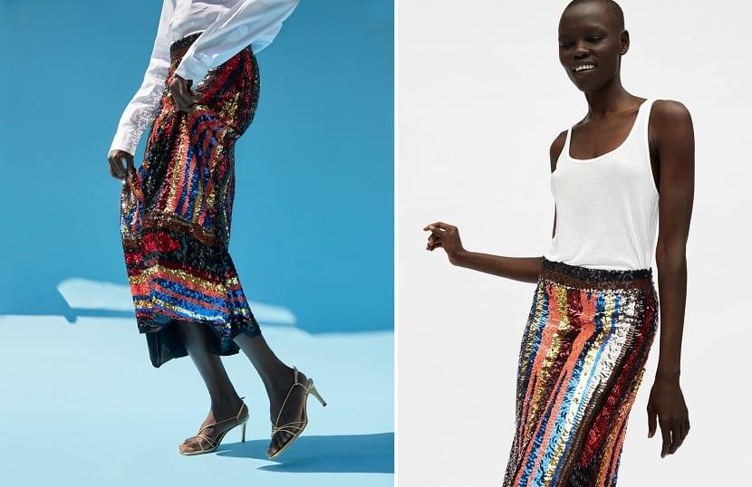 Falda de lentejuelas en color