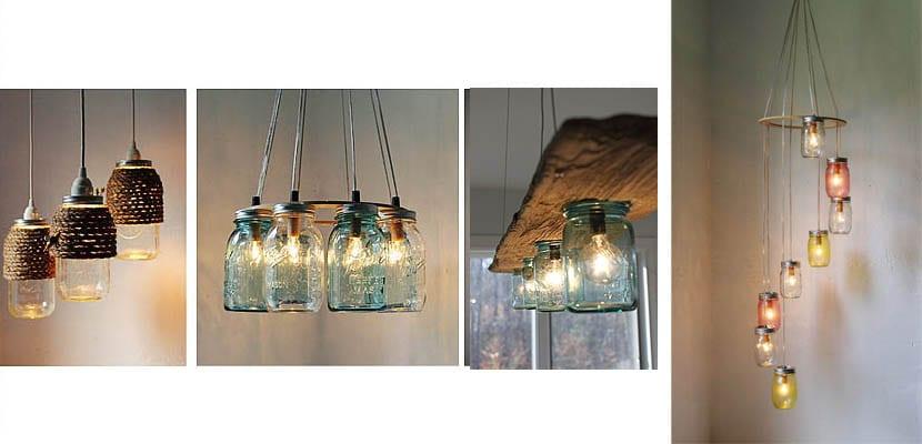Lámparas- con tarros de cristal