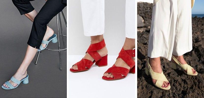 Sandalias de tacón medio en rebajas