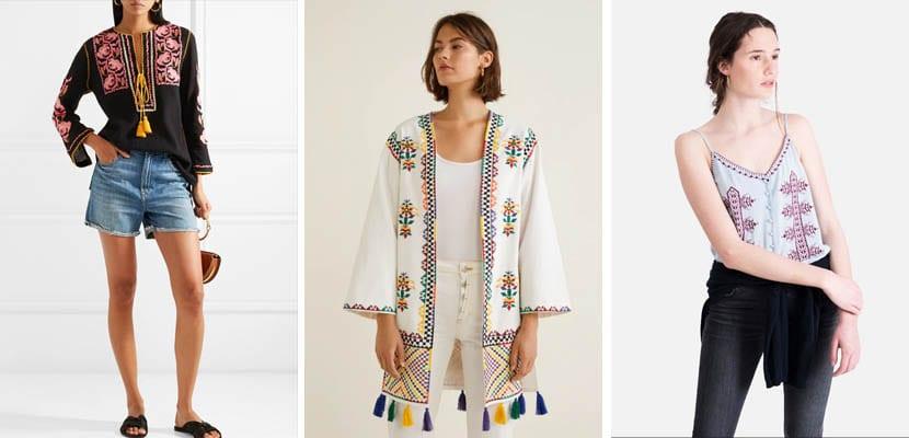Tops y blusas con bordado étnico