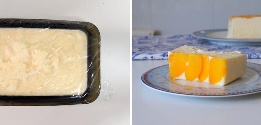 Tarta fría de melocotón