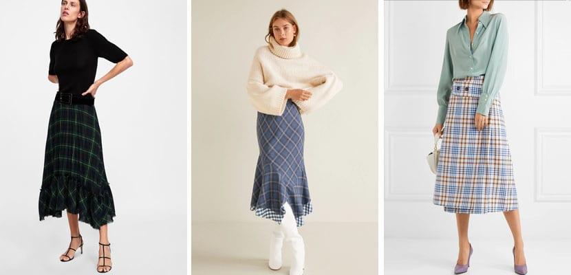 Faldas de cuadros midi