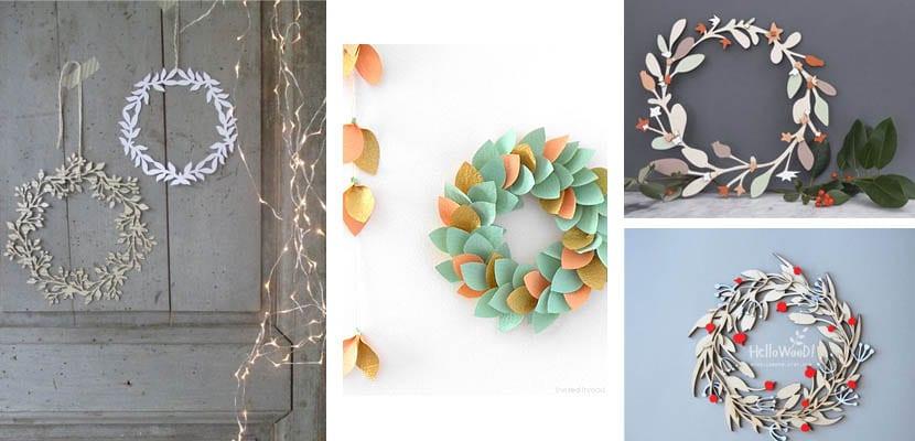 Coronas de Navidad de papel y madera