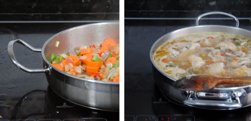 Pollo guisado con zanahoria y guisantes