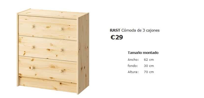 Cómoda Rast de Ikea