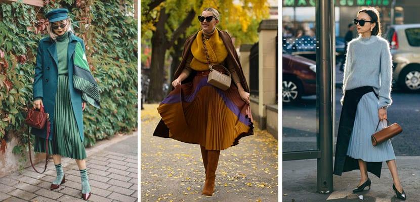Looks de invierno con falda plisada