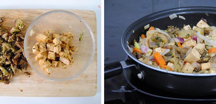 Bremejenas rellenas de verdutiras y tofu