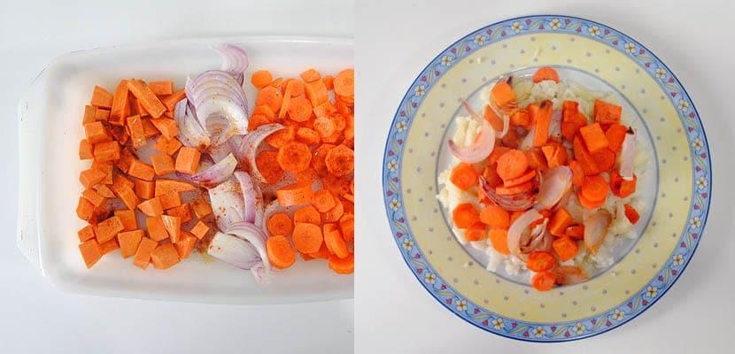 Ensalada de coliflor. zanahoria y boniato asado