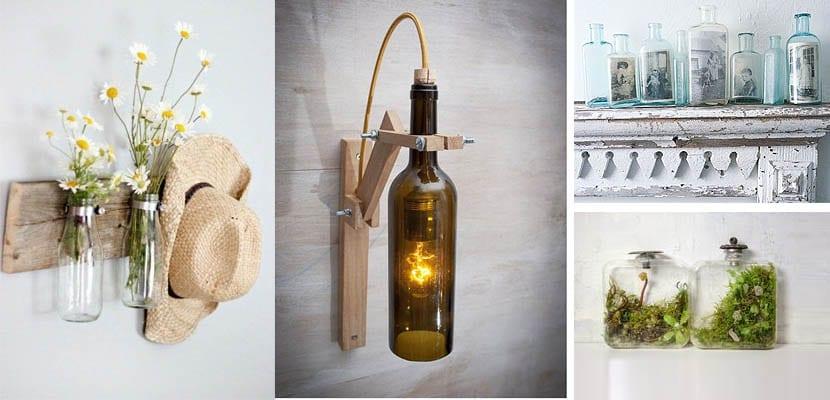 Accesorios decorativos con botellas de cristal