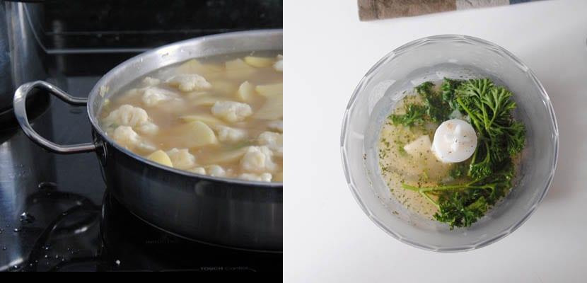 Guiso de patatas y coliflor con salsa verde