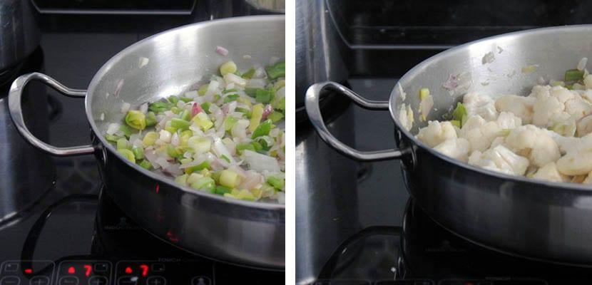 Guiso de patatas y coliflor en salsa verde