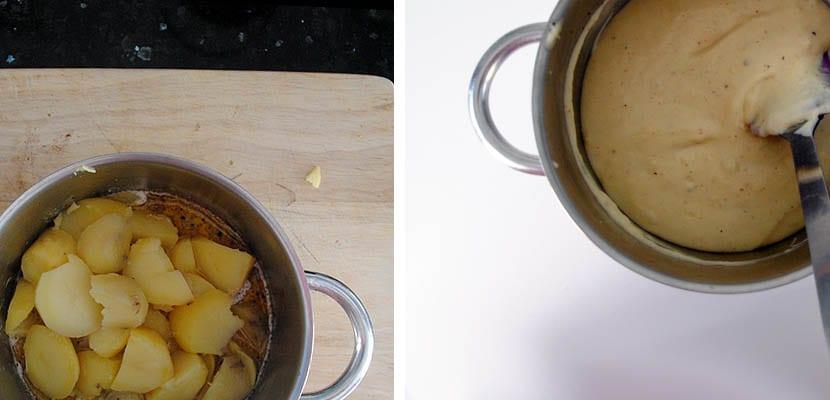 Parmentier de patata con champiñones en salsa