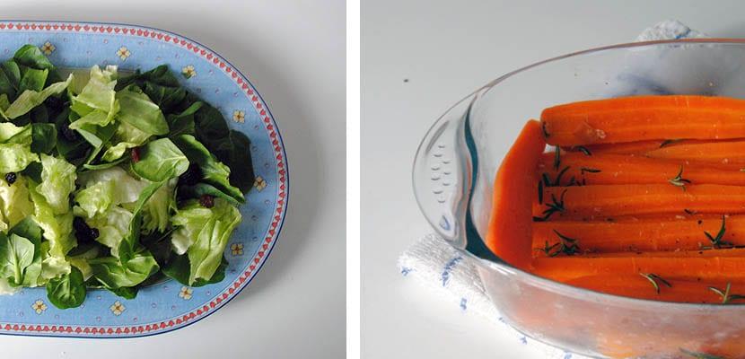 Ensalada con zanahoria asada y queso de cabra