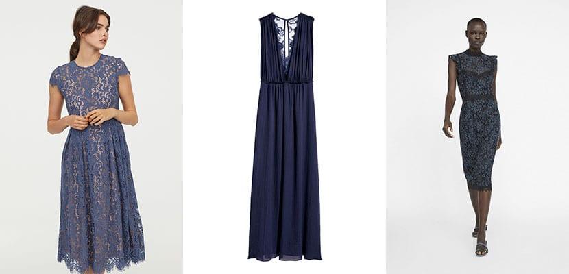 vestidos en tonos azules