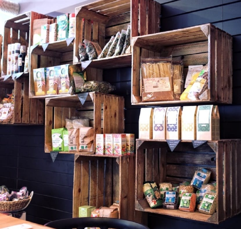 Cajas de madera de fruta para decorar