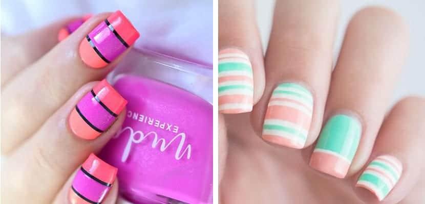 Uñas de rayas de colores