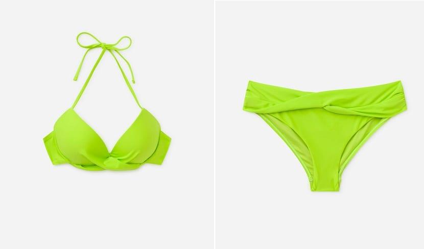 bikini en color verde neón
