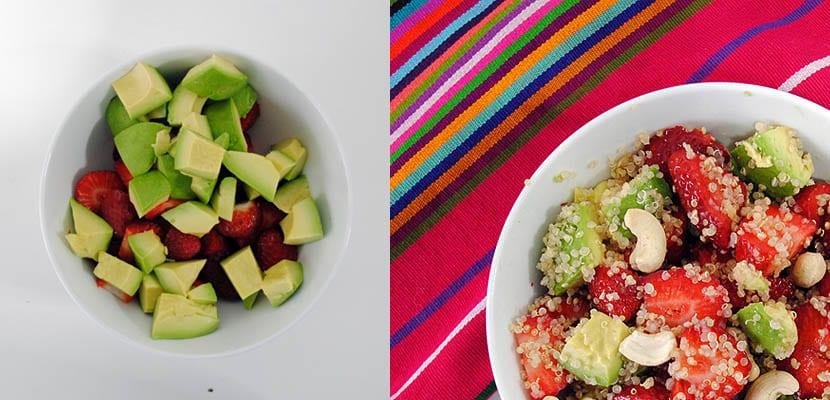 Ensalada de quinoa. fresas y aguacate