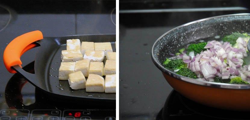 Tofu con arroz y verduras